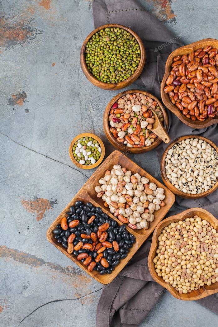 Assortment of vegan protein source food, legumes, lentils, chickpeas, beans