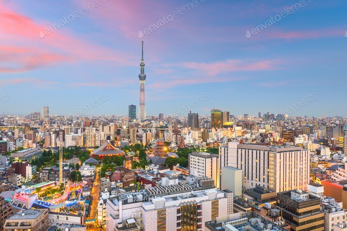 Tokyo, Japan city skyline over Asakusa