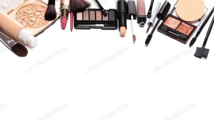 Day makeup set with copy space