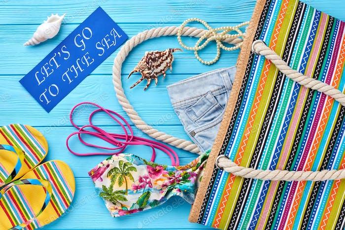 Bright image of summer fashion set
