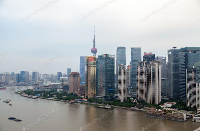 Huangpu river of Shanghai reflects Pudong New Area