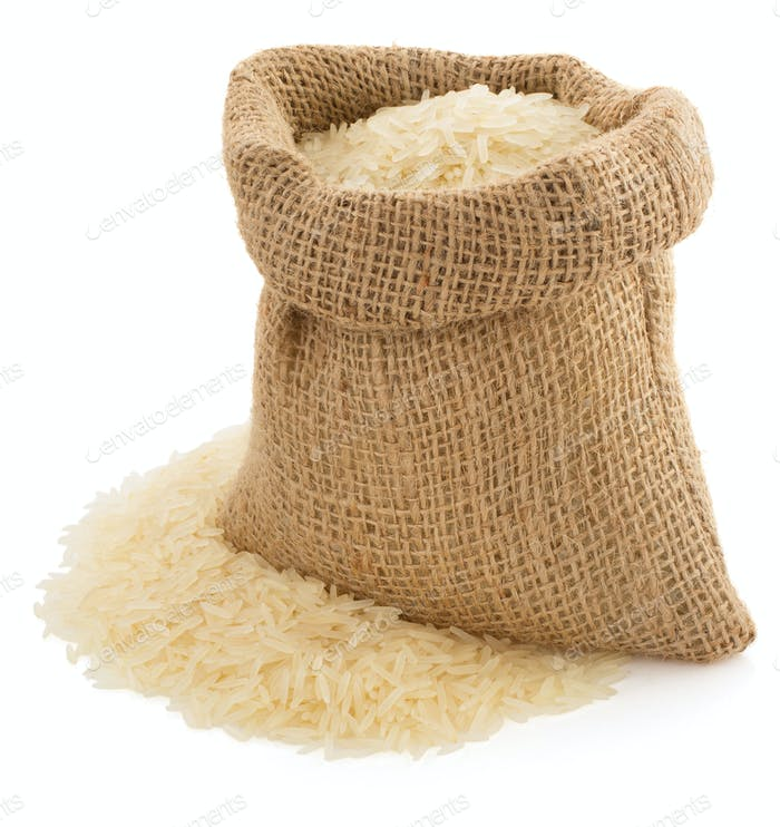 Thumbnail for rice in sack bag on white