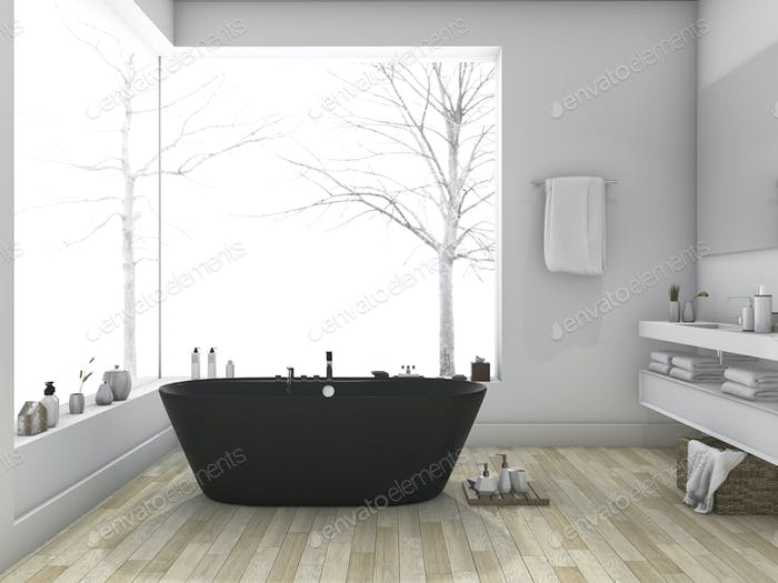 3d rendering winter and modern style bathroom with wood floor