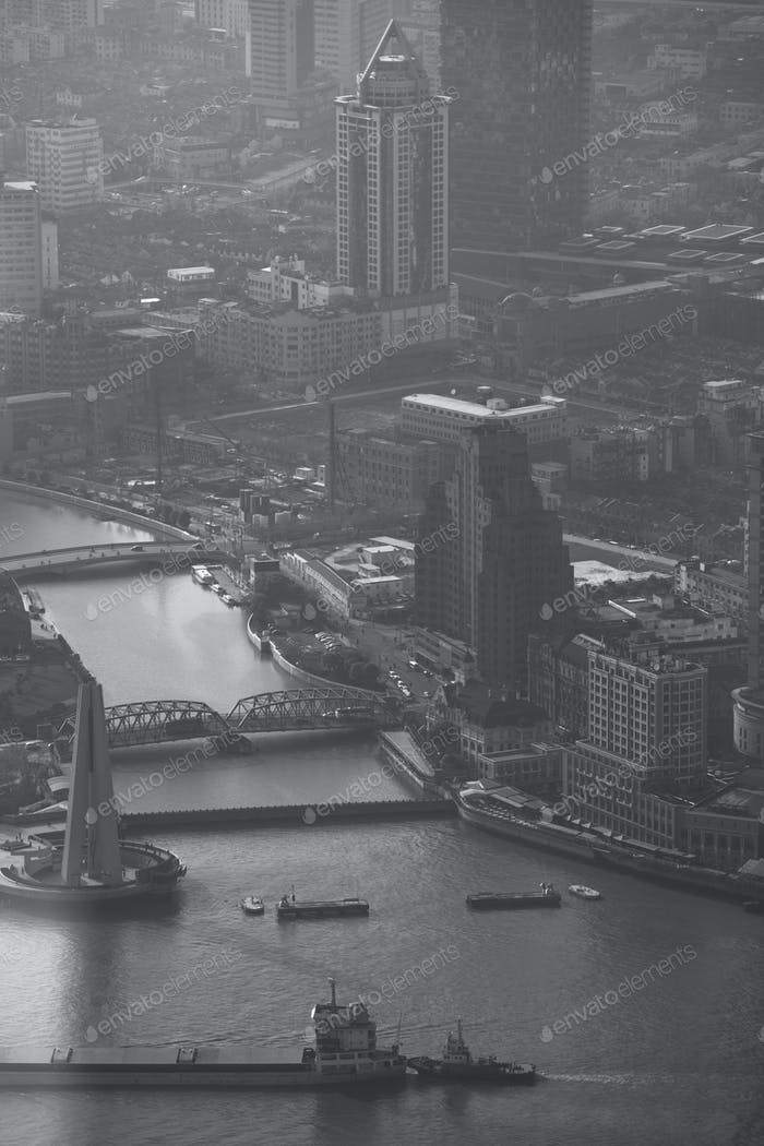 The huangpu river in black and white