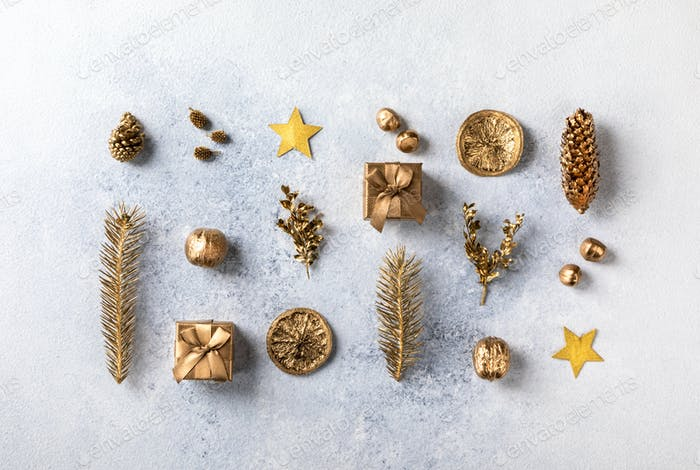Christmas or New Year composition in gold color .Zero Waste