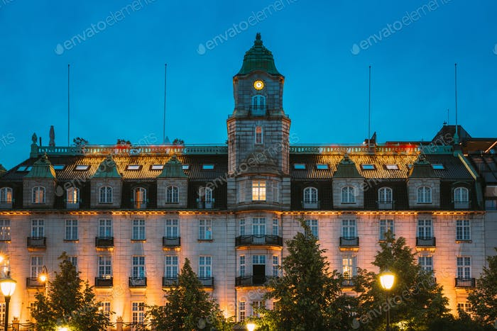 Oslo, Norway. Building Of Old Hotel In Night View. Centrum District In Summer Evening