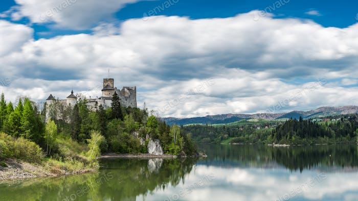 Panoramic view at Niedzica castle over Czorsztyn lake in polish
