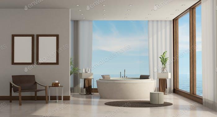 Minimalist luxury bathroom of a sea house