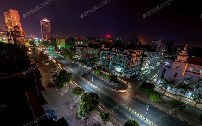 Night view of Yangon cityscape. Myanmar (Burma)