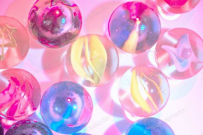 Closeup shot of glass marbles