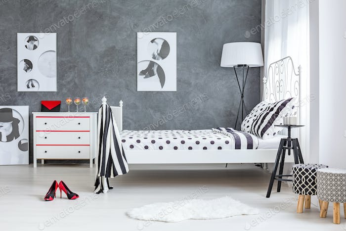 Grey and white decor of bedroom