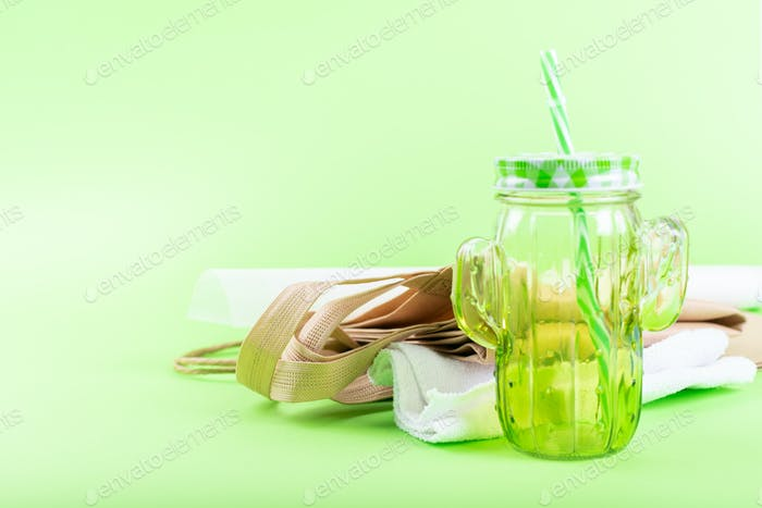Zero waste living concept. Zero waste no plastic kit, Reusable Bag, Mason Jar, Microfiber Cloth