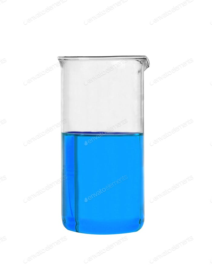 Chemical laboratory flask with blue liquid isolated