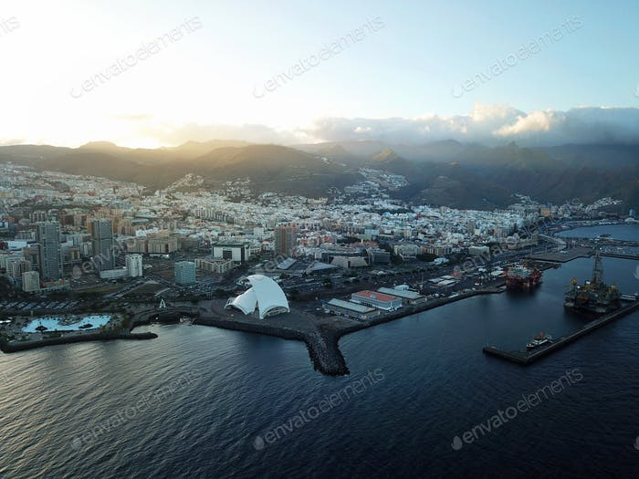 View from the height of the city of Santa Cruz de Tenerife on th
