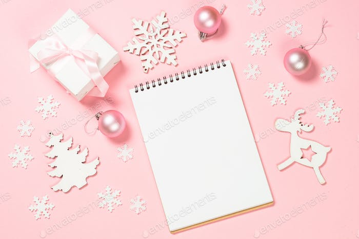 Christmas goals, plans, resolution on pink