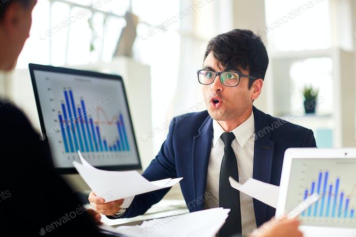 Worried financier