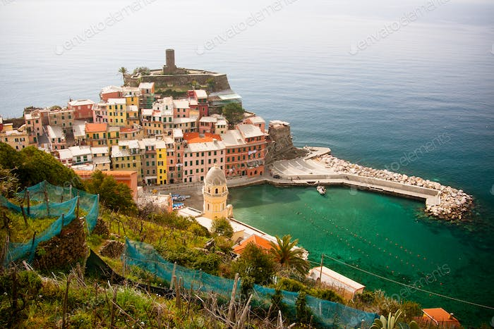 Buildings in Vernazza in Italy
