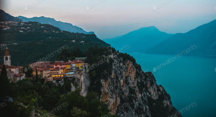 View on the Garda Lake, sunset, high iso