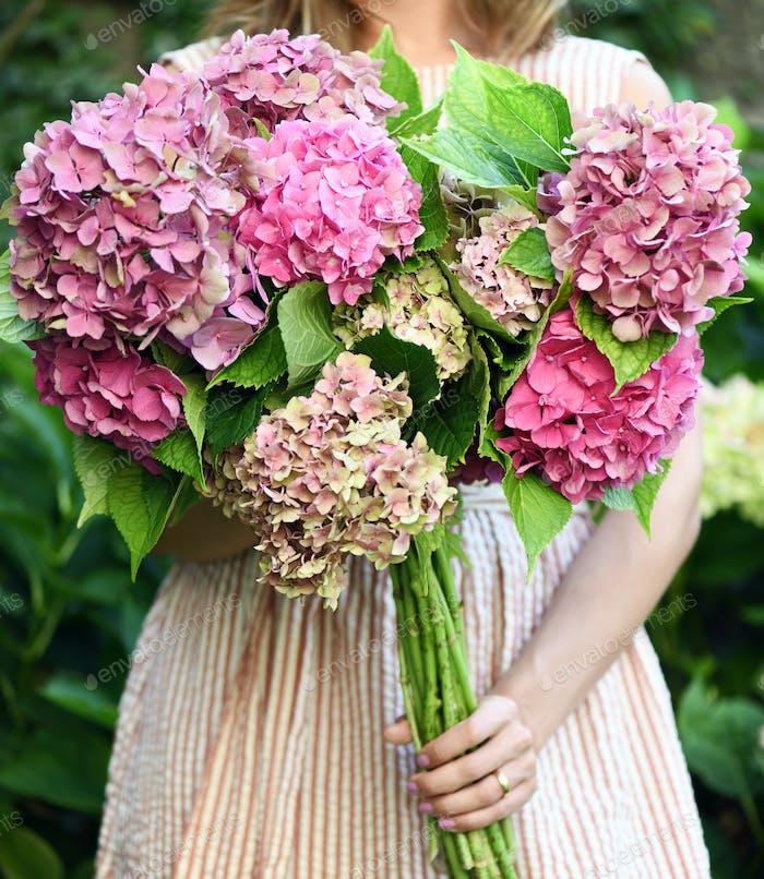 Hermosas flores de hortensias