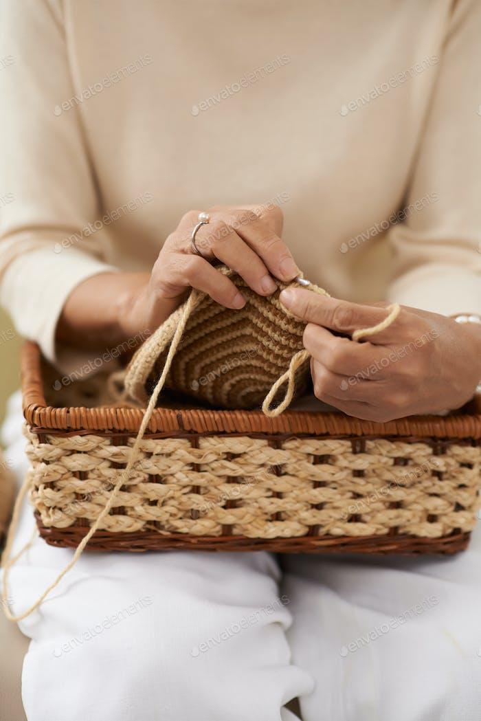 Knitting lady