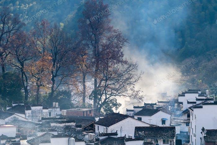 beautiful mountain village in late autumn