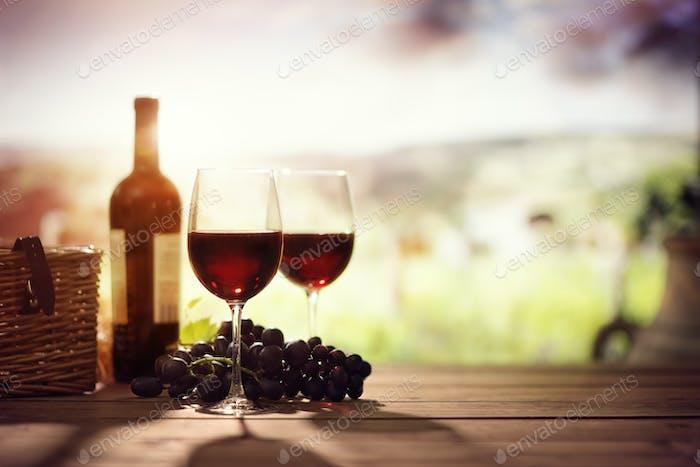 Rotweinflasche und Glas auf dem Tisch im Weinberg Toskana Italien