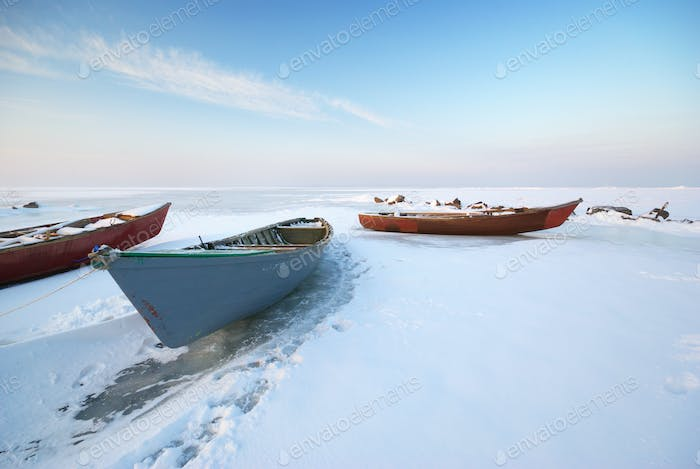 Boat on ice.