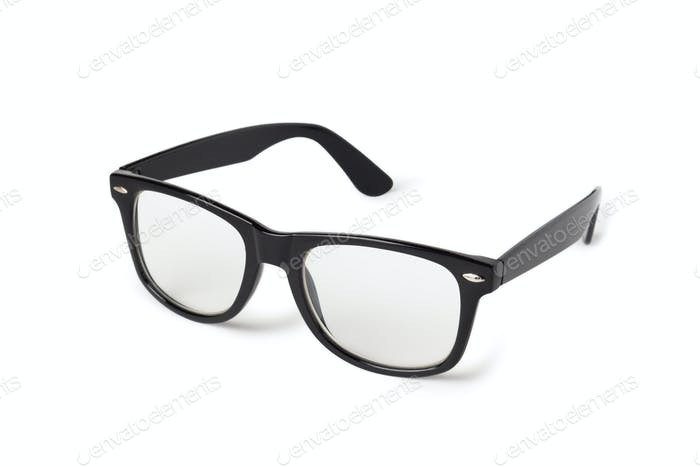 Photo of black nerd glasses isolated on white