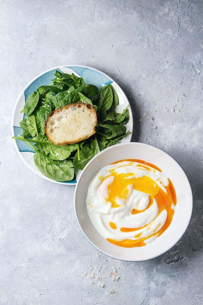 Poached egg with yogurt