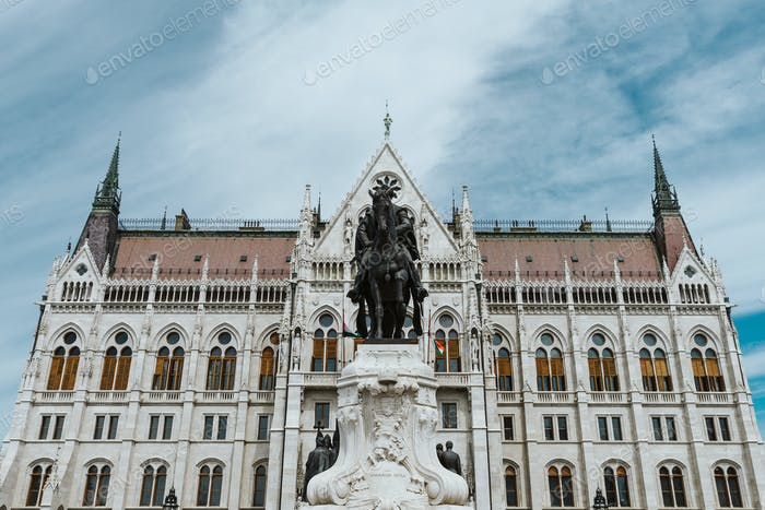 close up on Hungarian Parliament and Kossuth Lajos square