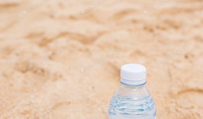 Bottled water on a hot day at the beach
