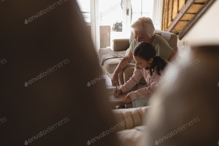 Hidden view of a grandmother helping her granddaughter with homework in living room at home