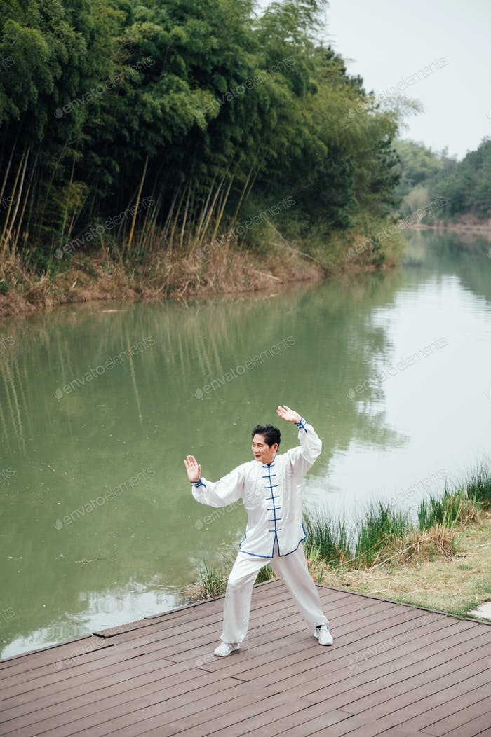 Asiatische Senior Mann praktiziert Tai Chi außerhalb des Flusses