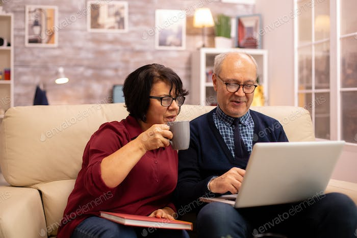 Grandmother and grandfather using a laptop to chat with their grandsons