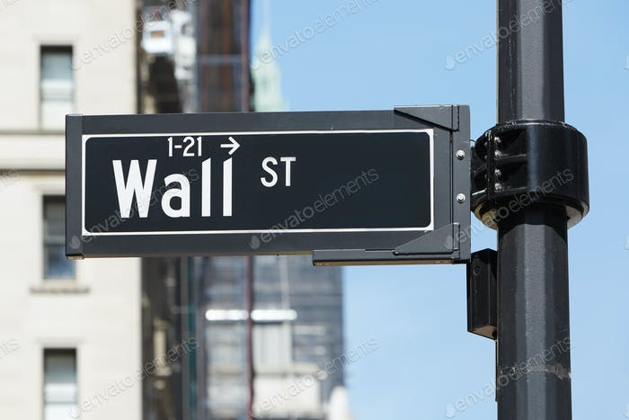 Wall Street sign near Stock Exchange, New York