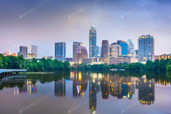 Austin, Texas, USA downtown skyline on the Colorado River