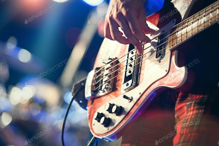Bass pop music player during a show