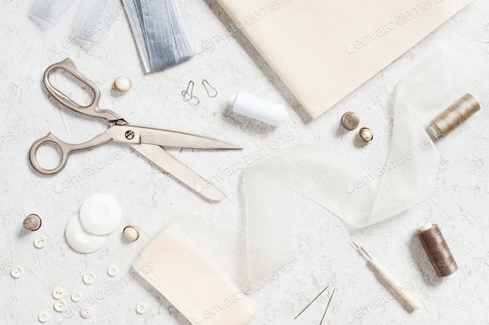 Sewing Supplies on the White Table