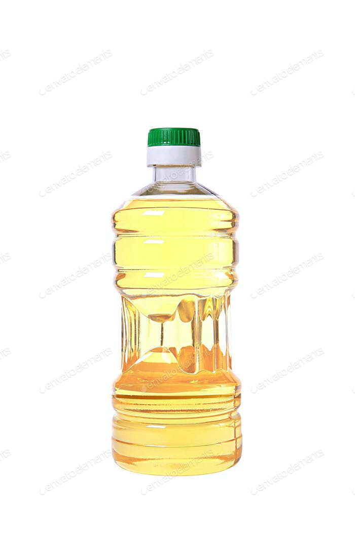 Yellow sunflower oil in a plastic bottle