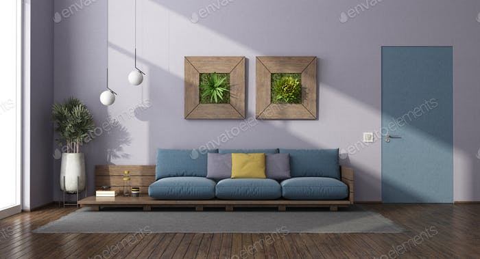 Modern living room with wooden sofa with blue cushion