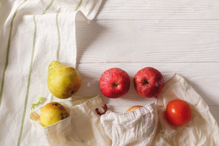 eco natural bags with fruits, eco friendly