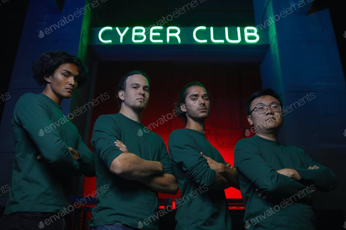 Team of gamers in cyber club
