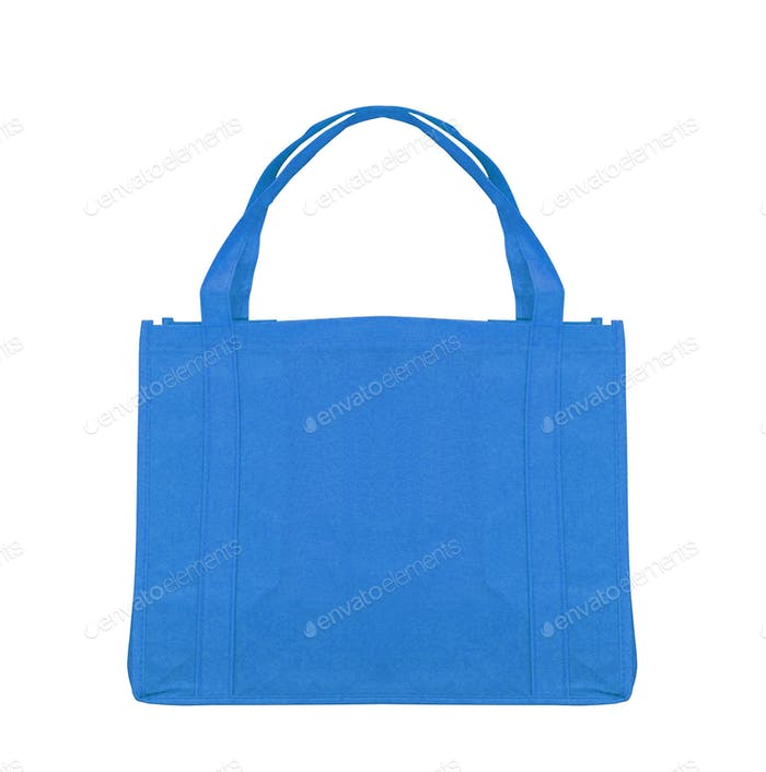 Blue cotton bag on white background