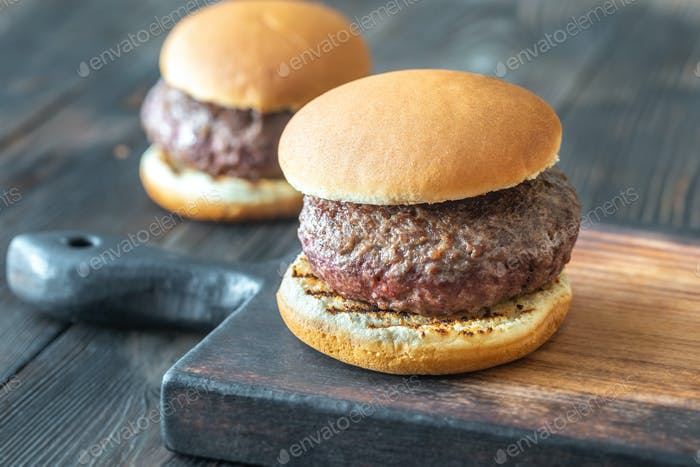 Hamburgers on the cutting board