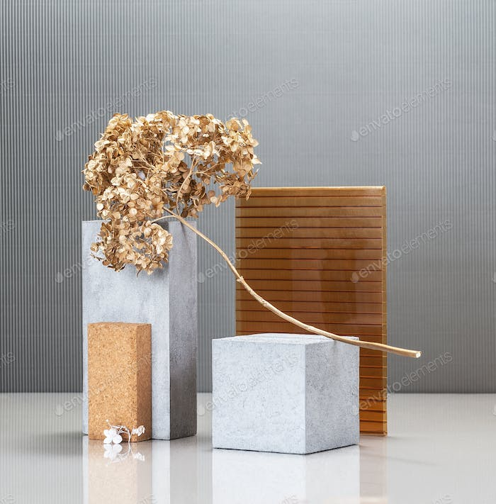 Creative modern still life with the use of concrete blocks, buil