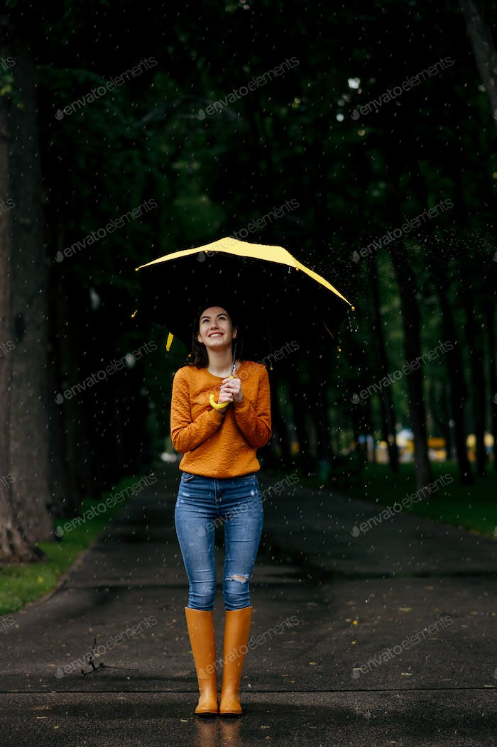 Woman with umbrella, back view, rain in park