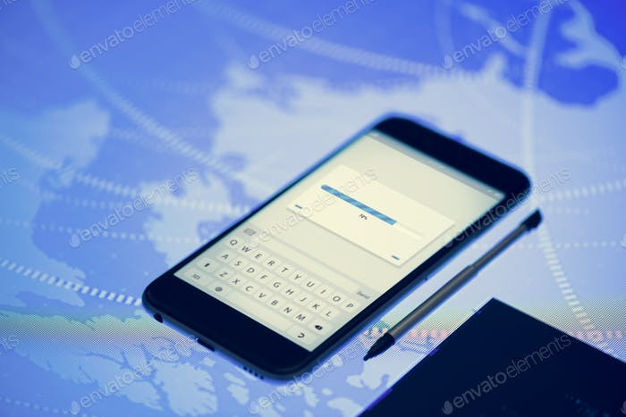 Loading progress showing on smartphone screen