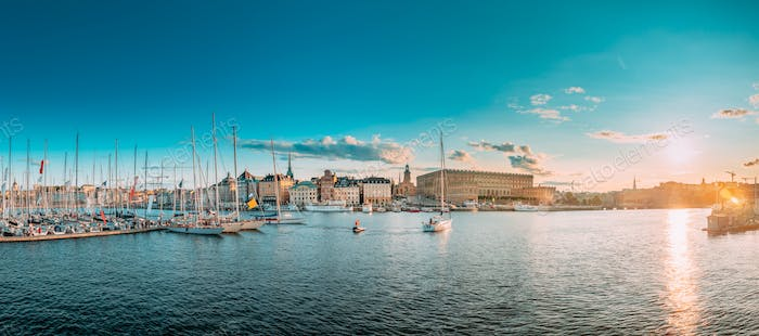 Stockholm, Sweden. Scenic Famous Panoramic View Skyline Of Old T