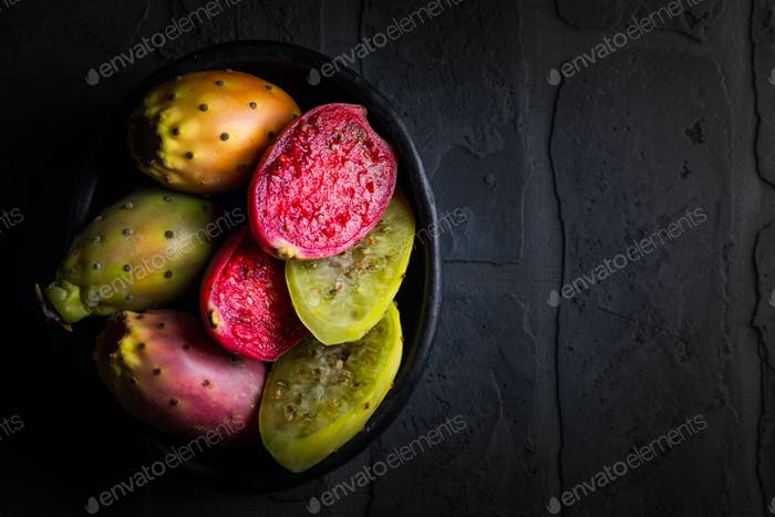 Prickly pear on black background