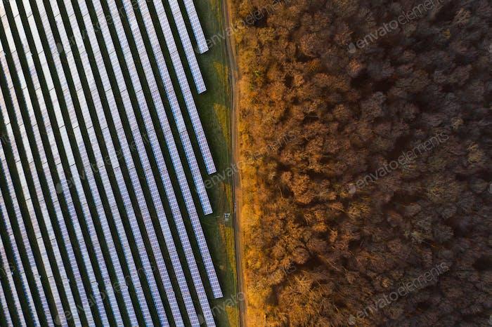 Solar panels - drone view